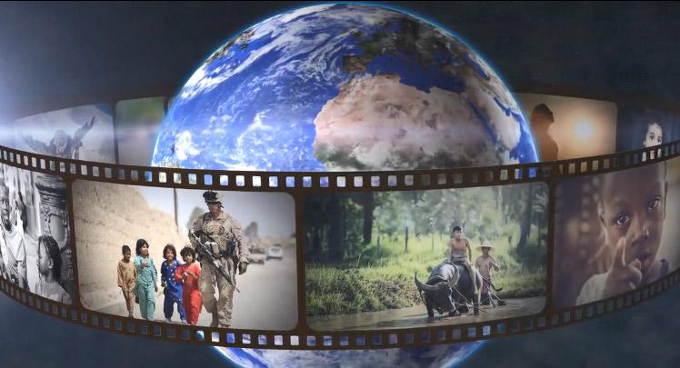 地球旋转相册循环播放ae模板