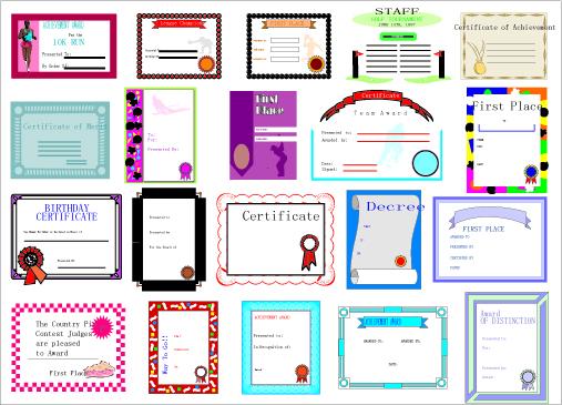各种矢量证书模板