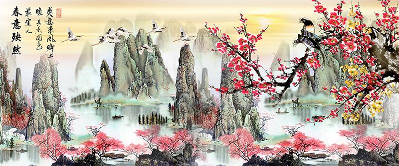 山水春季装饰画素材